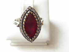 Turkish Ruby 925K Sterling Silver Ottoman Style Hurrem Sultan Ring Sz 8