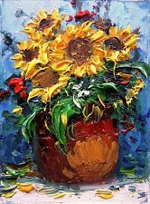 ACEO original oil painting STILL LIFE sunflowers white art card  yellow Tania