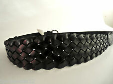 ASOS PIECES  ACCESSORIES GENUINE LEATHER BLACK WIDE WAIST BRAIDED BELT 75 M NEW