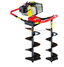 "2.3 HP Gas Powered Post Hole Digger w/2 auger Bits 8"" + 12"" 55CC Power Engine"