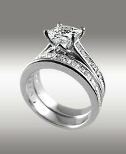 3.80 Ct Princess Cut Engagement Ring w Matching Bridal Band 14K Solid White Gold