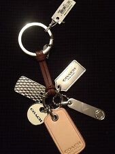Coach Key Chain Fob Leather Strap With Dangling Silver Fog Tags That Say Coach
