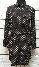 Lauren Ralph Lauren Long Sleeve Balck w/ White Polka Dots Button Casual Dress Si