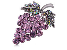 US Purple Genuine Diamante Rhinestone Grape Cluster Fruit Fashion Pin Brooch