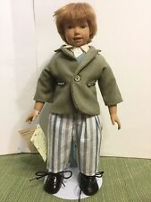 "Heidi Ott Boy 13"" Doll Swiss Design RARE ""Hand Made Real Hair"" MINT CONDITION"