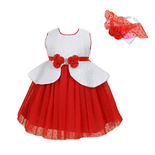 New Ivory and Red Flower Girl Party Bridesmaid Dress+Headband 3-4 Years