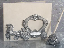 Quinceanera Sweet 15 16 Princess Fairytale Silver Carriage Guest Book Pen Set