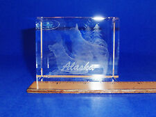 IMAGE 3 CRYSTAL BLOCK BY JAFFA WITH 3D LASER INNER IMAGE-ALASKA SLED DOGS W/SNOW