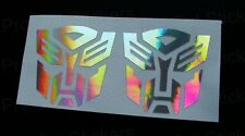 50 mm (5 Cm) X 2 Transformers Autobots Plata Holograma Cromo Stickers Calcomanías