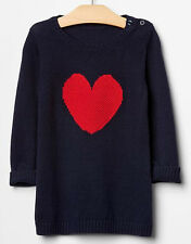 BABY GAP GIRL RED HEART BLUE SWEATER DRESS NWT 18-24M N7