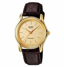 Casio Men's Brown Leather Strap Watch, Champagne Dial, MTP1096Q-9A