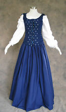 Navy Blue Renaissance Bodice Skirt Chemise Medieval or Pirate Gown Dress Medium
