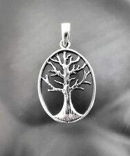 925 Sterling Silver Tree of Life Oval Pendant For Chain necklace 1 inch Oxidized