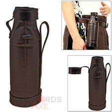 Pleather Wrapped Flask Bottle Holder for Costume Renaissance Fair w Belt Loop