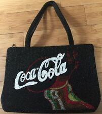Vintage Hand Beaded Coca Cola Coke Bag Purse Tote Satin Lining MINT HTF Style