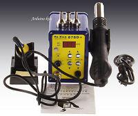 Ya Xun 878D+ 220V SMD Digital Hot Air Rework Station+Solder Station 3pin UK Plug