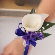 Wrist Corsage Boutonniere-Prom,wedding Bridal silk flower Ivory Calla lily Pearl