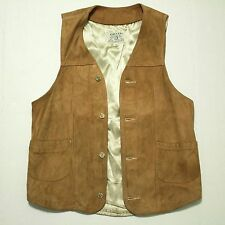 Vintage Orvis Fishing Tackle Script Leather Suede Vest Waistcoat Distressed Sm