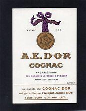 COGNAC VIEILLE LITHOGRAPHIE 19e COGNAC A.E. DOR EAU DE VIE RARE    §09/09§