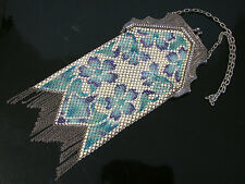 Vintage MANDALIAN ART DECO ENAMELED METAL MESH FLAPPER PURSE BAG - FLORAL