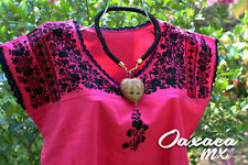 016 Womens Mexican Huipil Hand Embroidered Dress Oaxaca Pink Black Embroidery