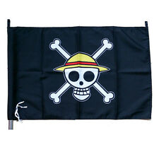40X65cm Anime One piece Luffy's skull sign flag black color 2-way for hanging