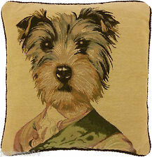 """SUPERB GOLD GREEN OFFICER MILITARY DOG TAPESTRY VELVET 18"""" CUSHION COVER *AS*"""
