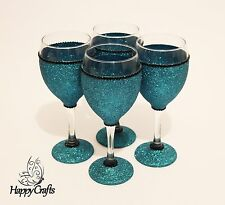 GLITTER SPARKLE TOP & BASE bicchieri da vino Set di 4 Teal Blue