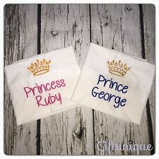 PERSONALISED Pillowcase Embroidered Boys Girls Prince Princess ANY NAME Gift