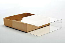 "5 Flat Kraft Paper Box Bases + Clear Sleeves; 4 7/8"" x 1"" x 6 3/4"" Boxes."