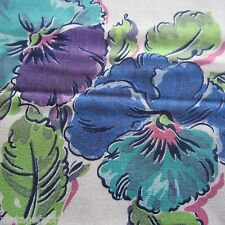 50CM SUPERB VINTAGE 1940S 1950S PURPLE PANSY SEWING DRESS FABRIC RAYON? COTTON?