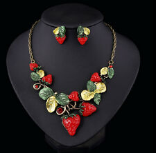 New Charm Banquet Temptation Strawberry Enamel Leaf Fruit Necklace Earring Set