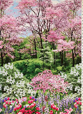 TIMELESS TREASURES SPRING NATURE WALK CHERRY TREES FLOWERS COTTON PANEL FABRIC