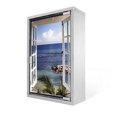 Abschliessbarer Edelstahl Medizinschrank mit Glastür Motiv Fensterpanorama Foto