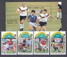 Fußball WM 1994, Soccer - Gambia - 4 Werte, 1 Bl. ** MNH Teilsatz