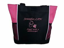 TOTE BAG Personalized Nurse Angel Stethescope RN LPN BSN CNA RT Clinical Nursing