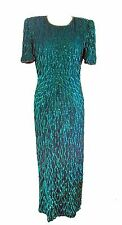 Vintage Laurence Kazar Green Sequin Short Sleeve Full Length Mermaid Gown SZ. M