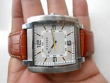 Excellent Big Size Square Case SS Indian TITAN Mens Quartz WristWatch
