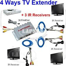 Wired AV Transmitter Sender 3 Receiver IR Infrared Repeater Emitter Extender AU