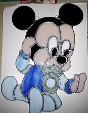 Vintage Baby Mickey Stained Glass Window Hanging for Nursery