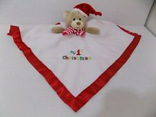 Okie Dokie My First Christmas Baby Lovey Security Rattle Toy Bear White & Red