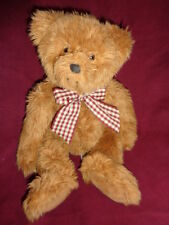 "Bear Brown Fuzzy 12""Teddy Soft Essentials Russ Berrie Stuffed Plush Red Chekered"