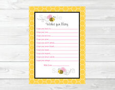 Pink Bumble Bee Printable Baby Shower Wishes for Baby Advice Cards