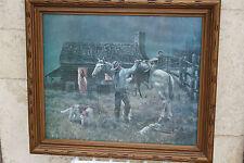 Vintage Joe Rader Roberts Western large print, original gilded frame with glass