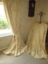 """Fabulous Large Cream Damask Thick Bump Interlined Curtains Each 78"""" x 93"""" Drop"""