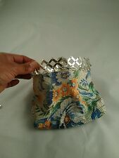 BEAUTIFUL VINTAGE ART DECO EXPANDABLE MESH LADIES COLORFUL FLORAL COIN PURSE