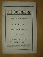 VINTAGE GILBERT & SULLIVAN OPERA SCRIPT THE GONDOLIERS - WORDS ONLY