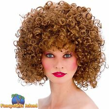 80s BROWN DISCO SPIRAL PERM BIG HAIR WIG womens ladies fancy dress costume**