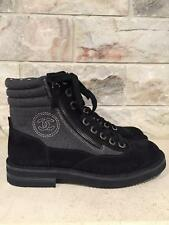 NIB Chanel 15C Black Grey Suede Cruise CC Lace Up Short Combat Boots 37 $1425