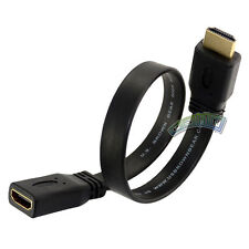 30cm Short Flat HDMI Extension Lead Gold Female Socket to Male Plug Cable HDTV
